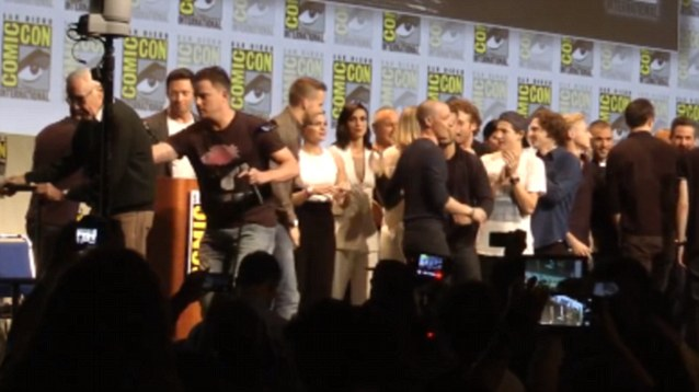 Channing Tatum leaps to the aid of Stan Lee at Comic Con stage