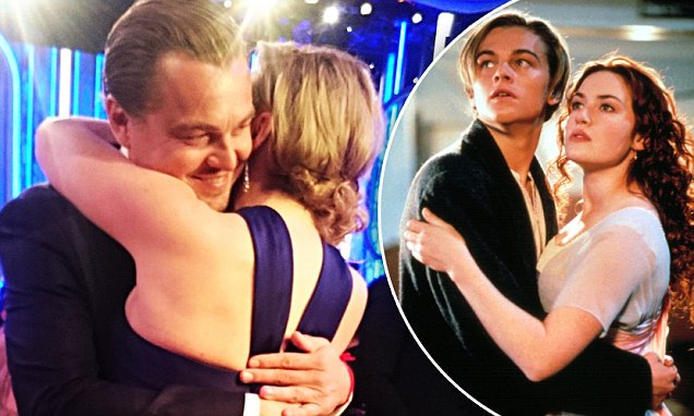 Golden Globe winners Kate Winslet and Leonardo DiCaprio hug in Titanic reunion