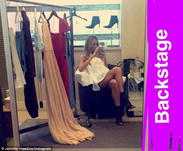 Jennifer Hawkins shows off her legs ahead of the Melbourne Myer fashion show